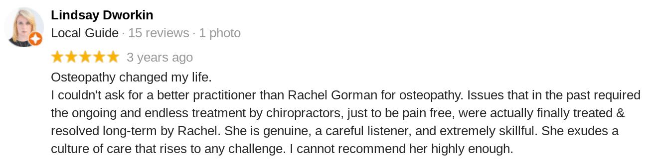 Rachel Review 5 Star